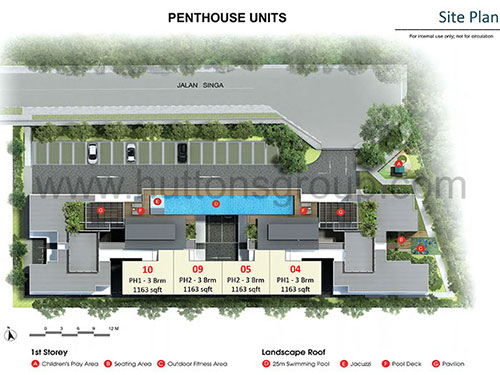 Singa Hills Site Plan for Penthouse Units
