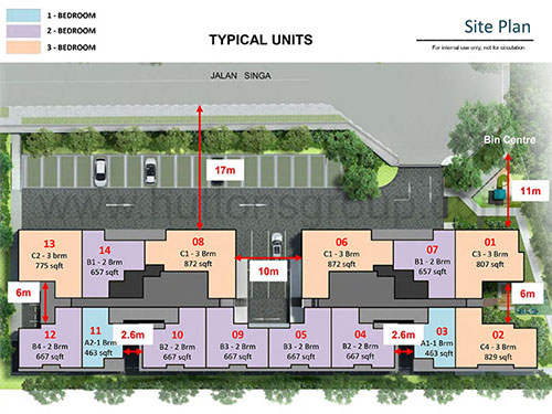 Singa Hills Site Plan for Typical Units